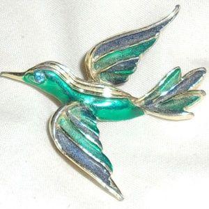 Jewelry - Bird In Flight Green and Blue Enamel Pin~Shiny
